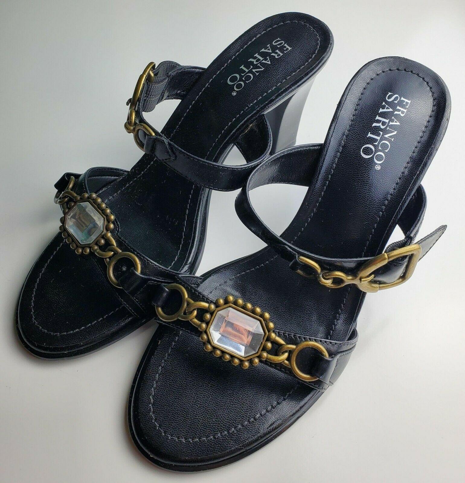 Franco Sarto Black Two Strap Women's Heels With Jewel Size 8.5 image 4