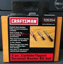 "Craftsman 26354 3 Piece Carbide Tipped Dovetail Router Bit Set 1/4"" Shank - $7.43"