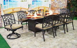 Patio dining table with built in fire pit 9 piece set outdoor furniture. image 1