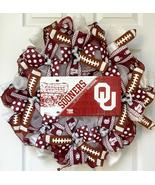 Sooners University Of Oklahoma Football Sports Wreath Handmade Deco Mesh - $94.99