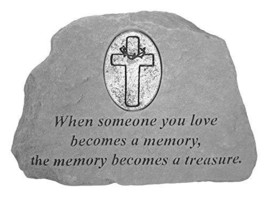 FindingKing KayBerry Cast Stone Desktop Memorial with Cross Medallion Wh... - $53.29