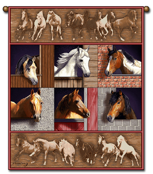 27x36  HORSE Western Farm Tapestry Wall Hanging