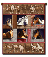 27x36  HORSE Western Farm Tapestry Wall Hanging  - $39.50