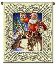 27x36  SANTA Christmas Reindeer Tapestry Wall Hanging  - $39.50