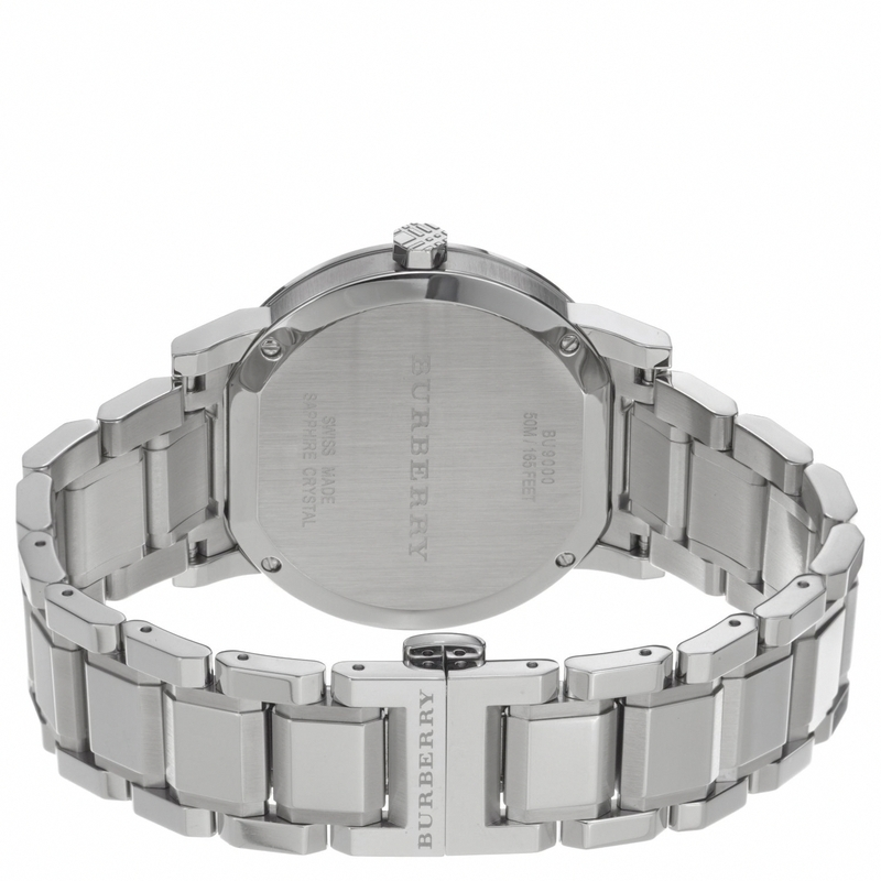 Burberry Mens Large Check Silver Dial Stainless Steel Quartz Watch BU9000 image 4