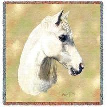 54x54 White Welsh Pony HORSE Lap Square Throw Blanket - $42.95