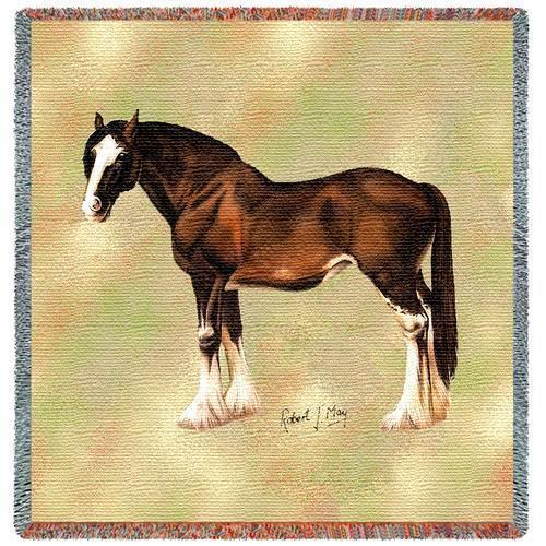 "54"" CLYDESDALE HORSE Tapestry Afghan Throw Blanket"