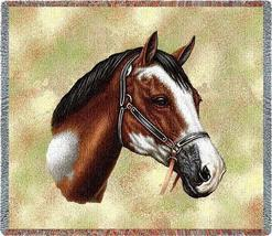 54x54 PAINT HORSE Jacquard Afghan Cotton Throw Blanket  - $42.95