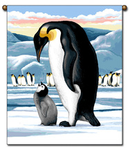 27x36 Arctic PENGUIN Snow Tapestry Wall Hanging  - $39.50