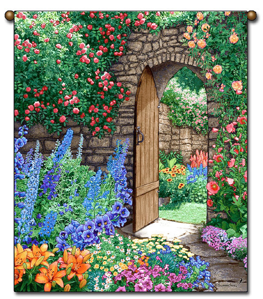 27x36 Floral GARDEN PATH Flower Tapestry Wall Hanging
