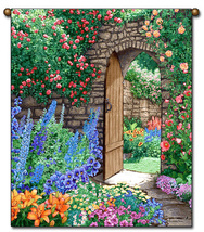 27x36 Floral GARDEN PATH Flower Tapestry Wall Hanging  - $39.50