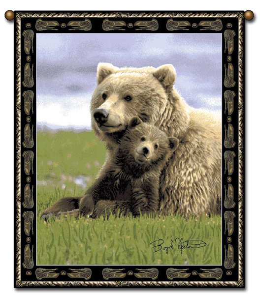 27x36  BEAR Cub Wildlife Nature Tapestry Wall Hanging