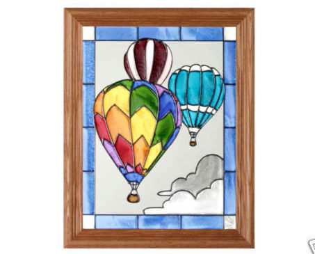 13x16 Stained Glass HOT AIR BALLOON Framed Suncatcher