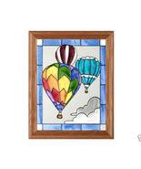 13x16 Stained Glass HOT AIR BALLOON Framed Suncatcher  - $50.00