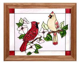 13x16 CARDINAL Bird Stained Art Glass Framed Wall Suncatcher  - $50.00