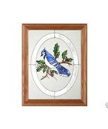 13x16  BLUE JAY Bird Stained Art Glass  Framed Wall Suncatcher  - $62.00