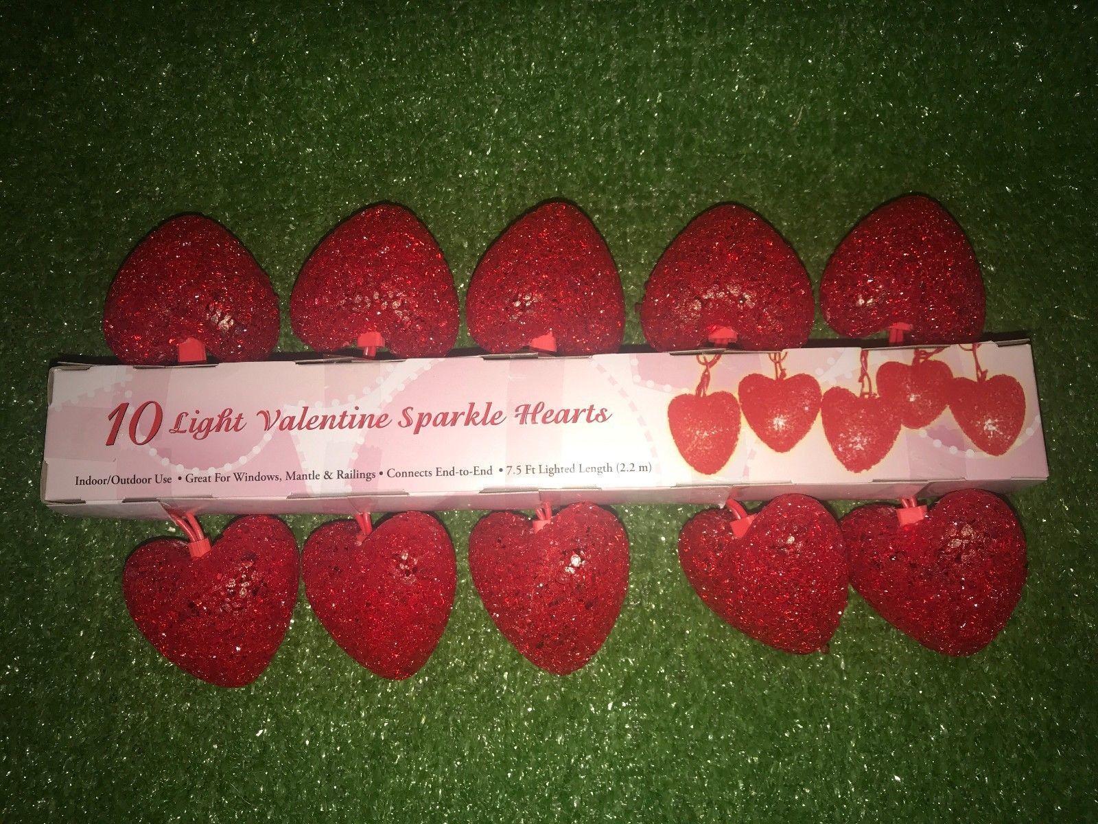 New Set Of Ten Red Gel Valentine's Day Crystal Gel Sparkle Heart Lights Red Wire - $24.74