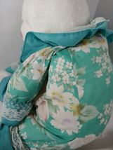 Enesco Plush white teddy bear green floral flowers outfit lace collar pink nose image 11