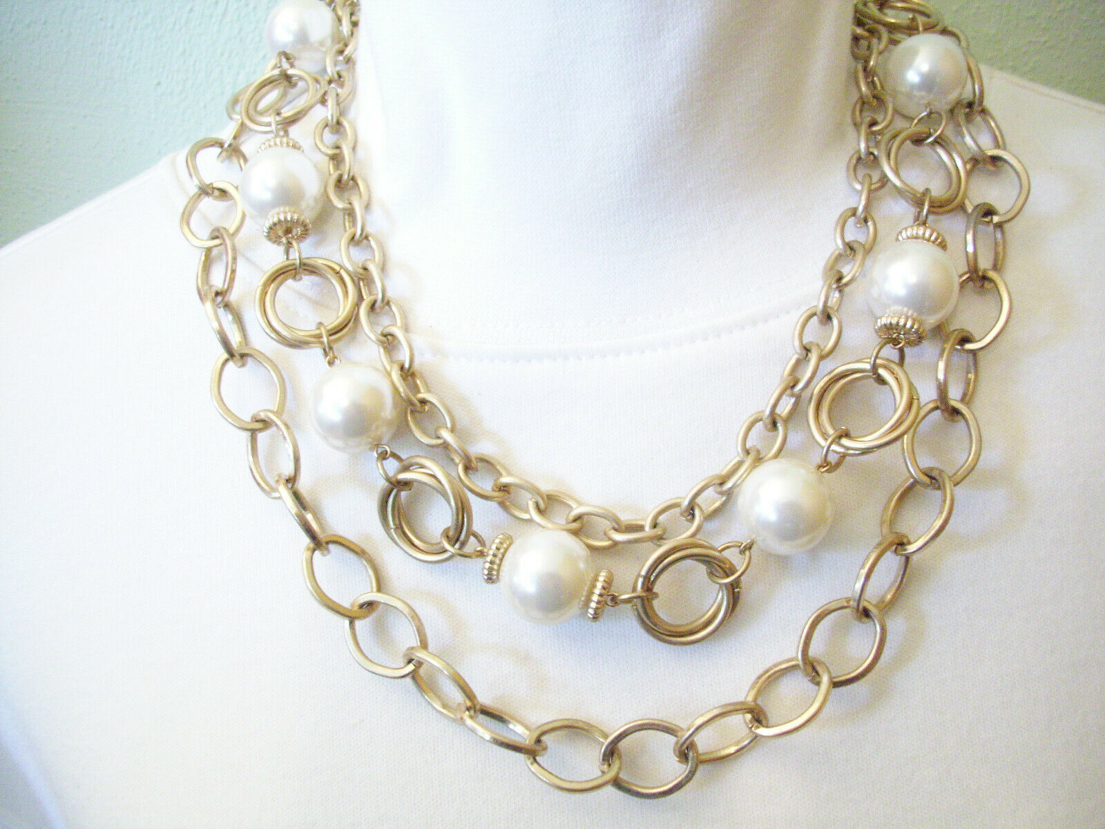 PREMIER DESIGN Big Pearls n Chains Convertible Necklace Choker Gold Plate Vintge