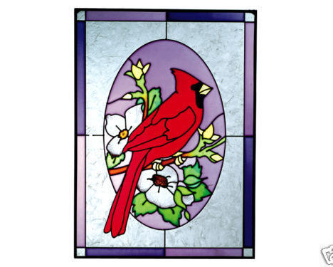 10x14 Stained Art Glass CARDINAL Bird Suncatcher Panel