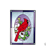 10x14 Stained Art Glass CARDINAL Bird Suncatche... - $42.00