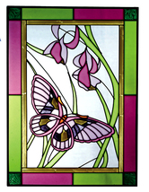 10x14 BUTTERFLY Floral Flowers Stained Art Glass Suncatcher  - $50.00