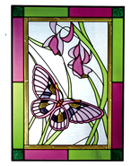10x14 BUTTERFLY Floral Flowers Stained Art Glass Suncatcher  - $45.00