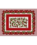 """4 Pc Set 18"""" STRAWBERRY Festival Fruit Tapestry Placemat - $38.50"""