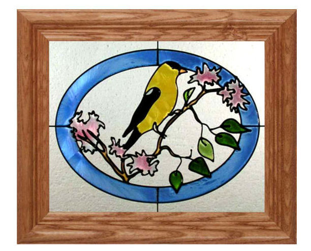 10x12 GOLDFINCH Bird Floral Stained Art Glass Framed Suncatcher