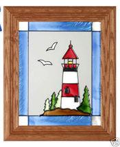 10x12 Stained Art Glass LIGHTHOUSE Framed Suncatcher Panel - $45.00