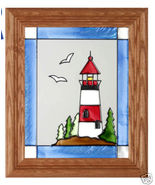 10x12 Stained Art Glass LIGHTHOUSE Framed Suncatcher Panel - $34.50
