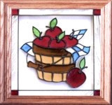 13x13 APPLIE BASKET Fruit Stained Art Glass Framed Wall Suncatcher