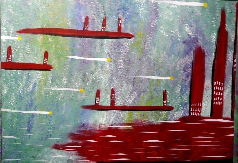 """Acrylic """"City"""" Original Painting"""
