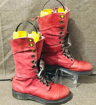 Dr Martens Triumph 12108 Rose/Burgundy Leather Floral Lined Boots US10 Rare/HTF - $156.42