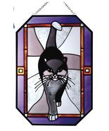 7X10 LARGE Stained Art Glass Black CAT Kitty Hanging Suncatcher - $30.00