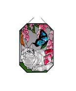 7X10 Large Stained Art Glass White CAT Kitty Butterfly Floral Suncatcher - $30.00