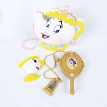 Disney Beauty & Beast Belle Singing Mrs. Potts purse necklace brush & mirror #S1 - $17.82