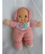 Goldberger Fuzzy Fleece Baby Doll w Rattle Stuffed Nylon Vinyl face Heart - $12.69