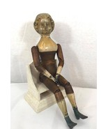 Antique Rare wood doll 1873 Springfield with metal hands legs 18 th Century - $825.09