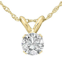 "1/3 Ct Solitaire Round Diamond Pendant Necklace 18"" 14K Yellow Gold Finish - £26.72 GBP"