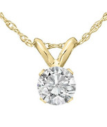 """1/3 Ct Solitaire Round Diamond Pendant Necklace 18"""" 14K Yellow Gold Finish - £29.14 GBP"""