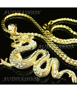 "3.15"" Big Hiphop Punk 18k Gold Plated Mens Chinese Dragon Pendant Neckla... - $20.36"