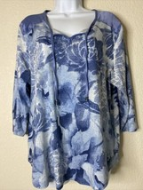 Chico's Womens Size 2 Blue Floral Tie Neck Blouse 3/4 Sleeve - $19.80