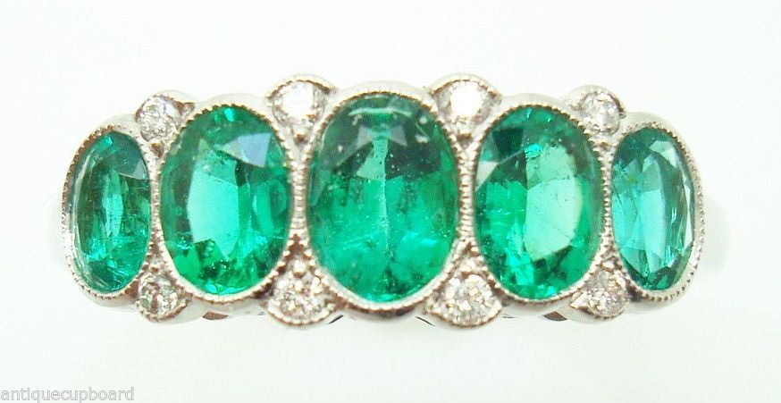 Primary image for Very Fine Platinum Genuine Natural Emerald Diamond Ring (#147)