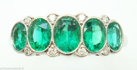 Very Fine Platinum Genuine Natural Emerald Diamond Ring (#147) - $4,918.63