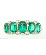 Very Fine Platinum Genuine Natural Emerald Diamond Ring (#147) - $4,918.63