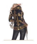 New Orleans Saints Black & Gold Fleur De Lis Sequined Shawl scarf Mardi Gras Tab - $29.95