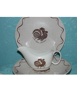 Royal China Early Rooster Morn Plate Cup Saucer  Brown Set of 6 - $139.58