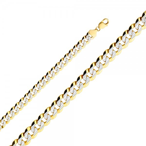 Men's 14K Two Tone Gold 12mm White Pave Cuban Link Bracelet