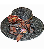 Copper brown pheasant feather straw capeline sun wide brim derby hat size - $80.01